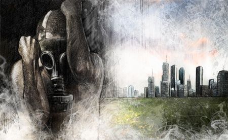radiation suit: Environment illustration, man with gas mask over dirty city