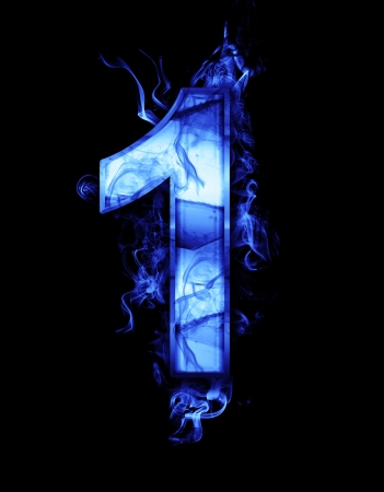 one, illustration of  number with chrome effects and blue fire on black background illustration