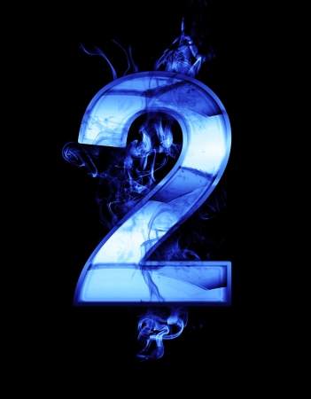 two, illustration of  number with chrome effects and blue fire on black background Stock Illustration - 18892647
