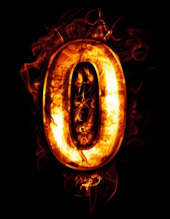 zero, illustration of  number with chrome effects and red fire on black background Stock Illustration - 18892713