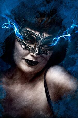 Artistic mysterious brunette woman in lingerie, blue smoke coming out of the eyes photo