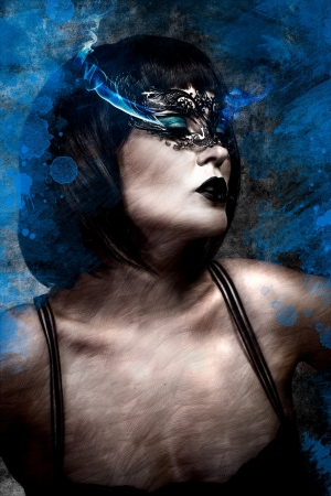Artistic beautiful woman with short hair and Venetian mask, gas electric blue photo