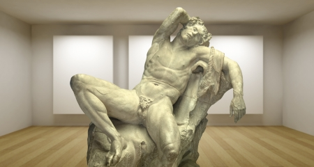 Empty gallery, 3d room, greek sculpture photo
