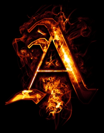 flame letters: A, illustration of  word with chrome effects and red fire on black background Stock Photo