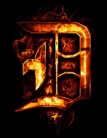 flame letters: D, illustration of  word with chrome effects and red fire on black background