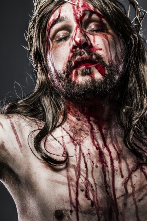 jesus christ crown of thorns: Jesus Christ with crown of thorns, passion concept Stock Photo