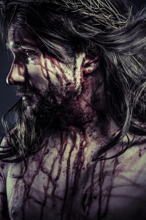 son of god: Jesus Christ with crown of thorns Stock Photo