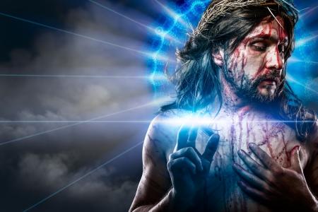 christmas religious: calvary jesus, man bleeding, representation of passion with blue light halo