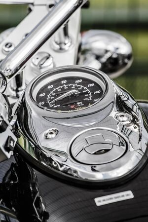 chromium plated: Closeup of a big chromium motorcycle engine, shiny chrome plated