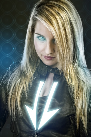 Sexy young woman with blue neon lights, future warrior costume, fantasy girl photo