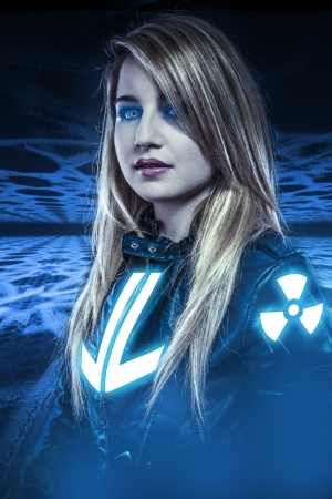 cybernetics: Dangerous, Girl with blue eyes, fantasy scene, future warrior Stock Photo