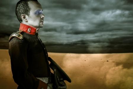 era soldier over desert background photo