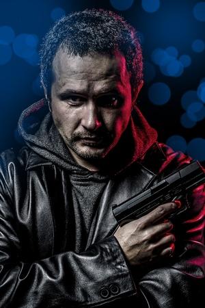 motor officer: dangerous secret agent with gun and police emergency lights