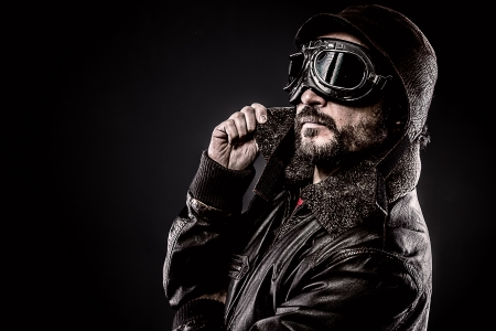 attractive pilot era hat and glasses Stock Photo - 21104862