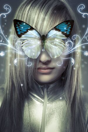 Serious young blond, concept future and modernity, girl with butterfly photo