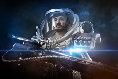 astronaut: Astronaut, fantasy warrior with huge space weapon