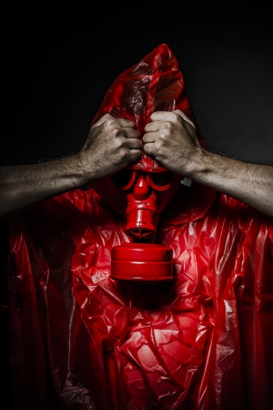 chemical weapon sign: Toxic concept, man with red gas mask.