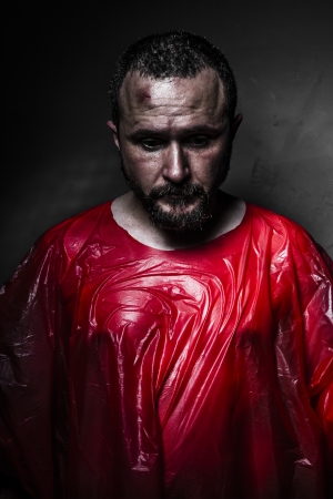 Sad concept, man with red plastic Stock Photo - 21135227