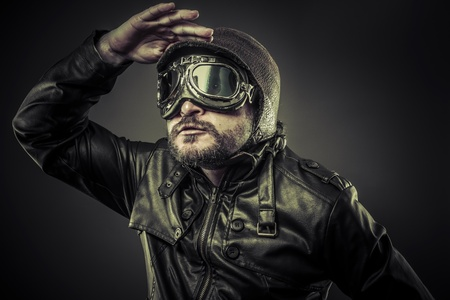 Steampunk concept, pilot vintage with big glasses photo