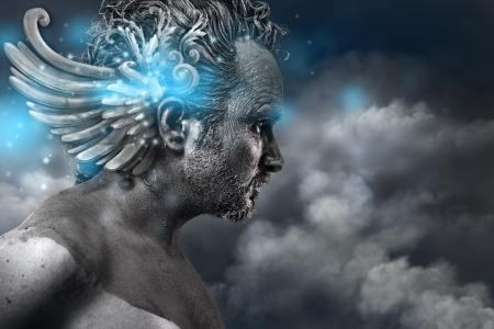 古代英雄、ファンタジー画像、青色光の効果を持つ古代の神々 の古典的なスタイル