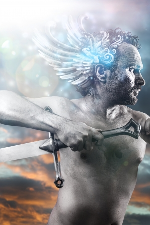 Hero, fantasy image, ancient gods with sword, classic style with blue light effects Foto de archivo