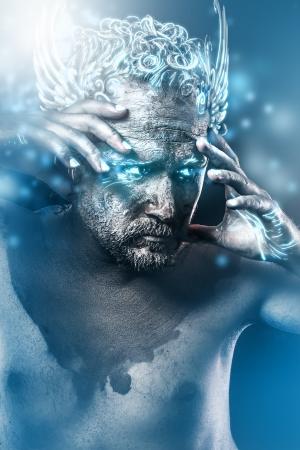 effets lumiere: Knight, l'image imagination, anciens dieux style classique avec des effets de lumi�re bleu Banque d'images