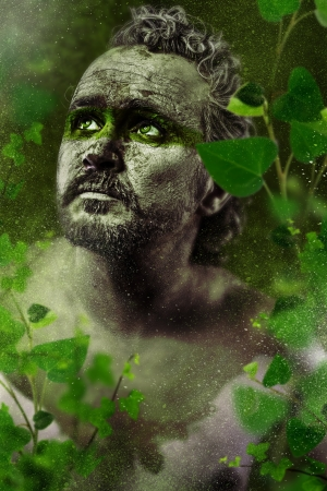 Hero, fantasy image, ancient gods, warrior in green forest photo