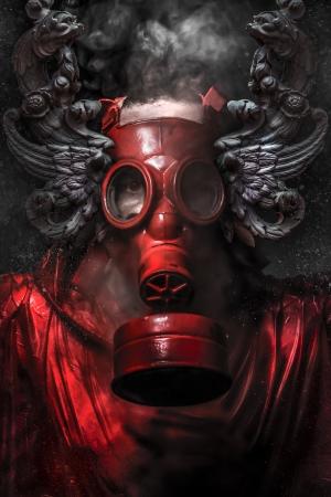 核攻撃。煙のガスマスクの男。芸術の背景