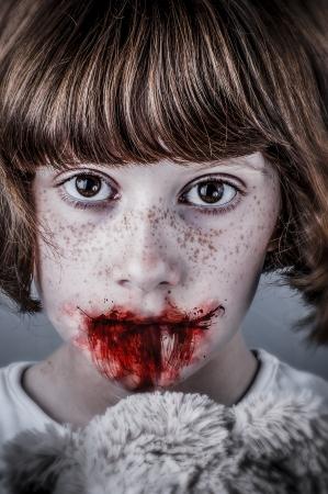 Child abuse concept, unhappy girl. Violence, despair. photo