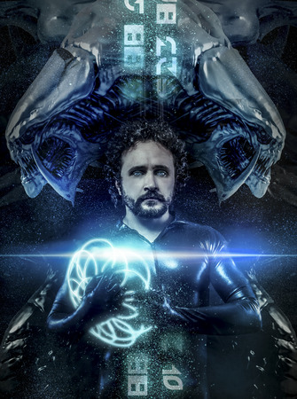 fantasy and science fiction, black latex man with blue neon spheres photo