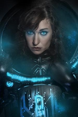 science fiction: Sexy brunette in black latex costume , science fiction scene, fantasy armor Stock Photo