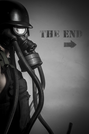 War, nuclear disaster, man with gas mask, protection photo