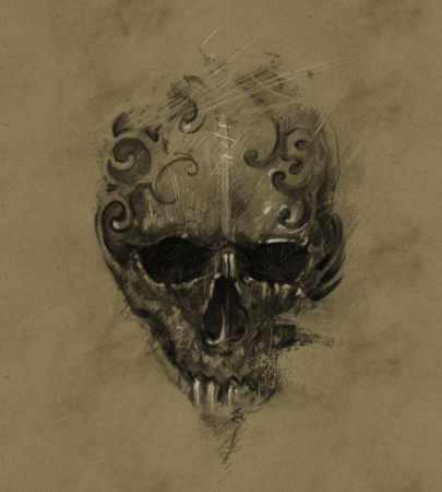 Tattoo skull over vintage paper, design handmade photo