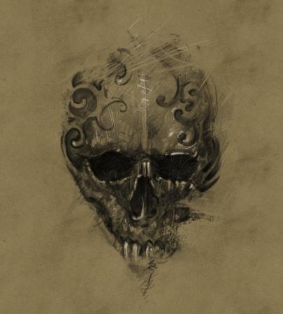 Tattoo skull over vintage paper, design handmade Stock Photo - 24709508