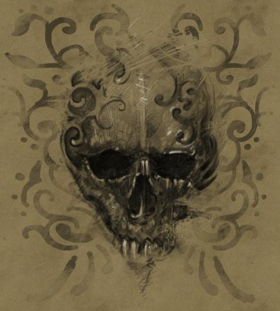 Tattoo skull over vintage paper, white tribals design Stock Photo - 24709509