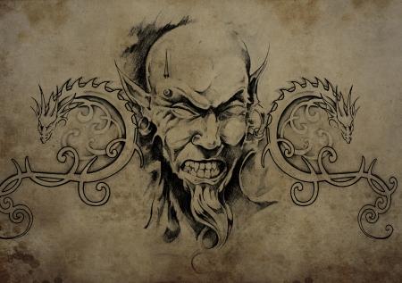 Tattoo skull over vintage paper, black tribal tattoos Stock Photo - 24725813