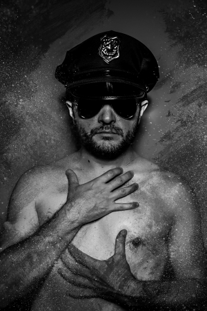 sexy police: Sexy police concept, dangerous man with sunglasses Stock Photo