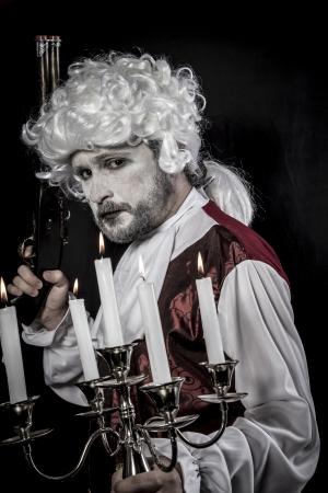 musket: Musket, gentleman rococo era wig