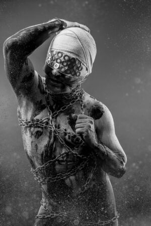 Liberty, Slave concept, man bound, chains, prison photo