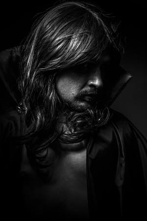 desolation: Vampire, Male model, evil, blind, fallen angel of death Stock Photo