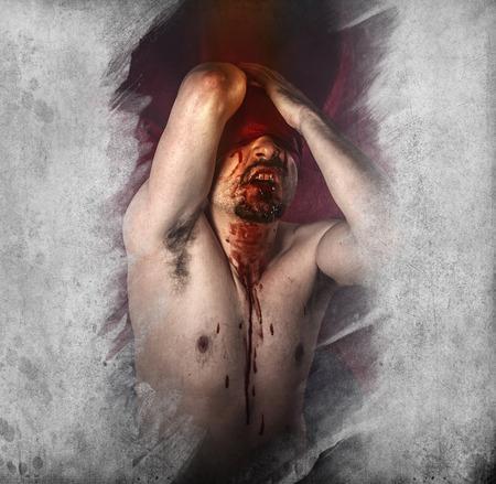 Male model, evil, blind, fallen angel of death photo