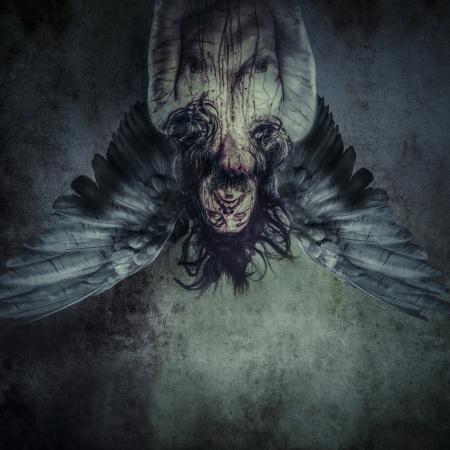 Gefallener Engel des Todes, Männlichen Modell, das Böse, blind Standard-Bild - 24885435