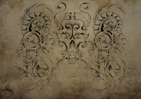 Tattoo skull over vintage paper, black tribal tattoos photo