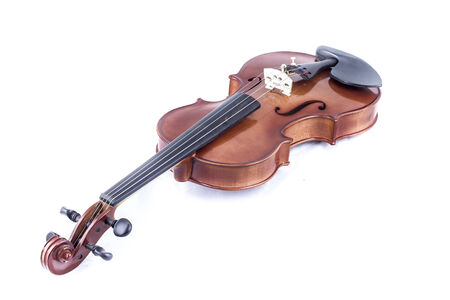 Sound, Violin front view isolated on white, vintage photo