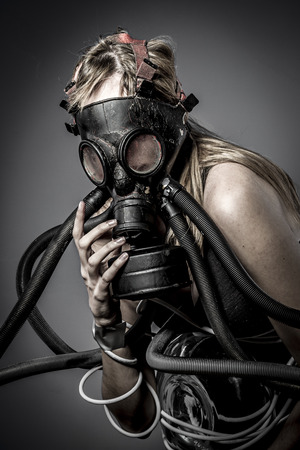 Toxic, gas mask, Female model, evil, blind, fallen angel of death photo