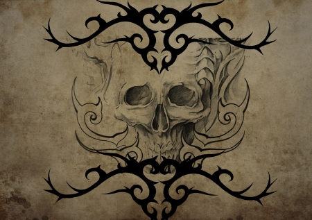 Tattoo skull over vintage paper, black tribal tattoos photo
