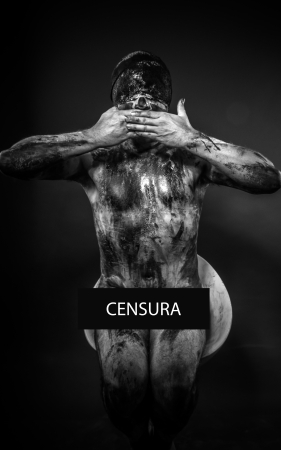 concept of censorship, blindfolded man covering his eyes, mouth and ears photo