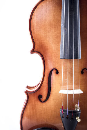 Melody, Violin front view isolated on white, vintage photo