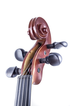 Wooden Violin front view isolated on white, vintage photo