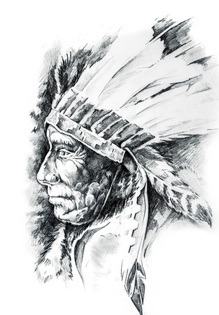 Sketch of tattoo art, native american indian head, chief, isolated Stock Photo